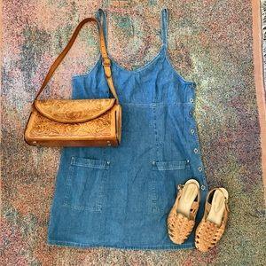 Vintage urban boho denim jean sundress dress